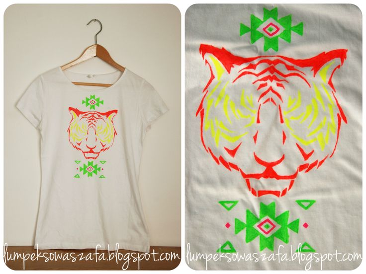 DIY aztec tiger t-shirt. Hand-painted