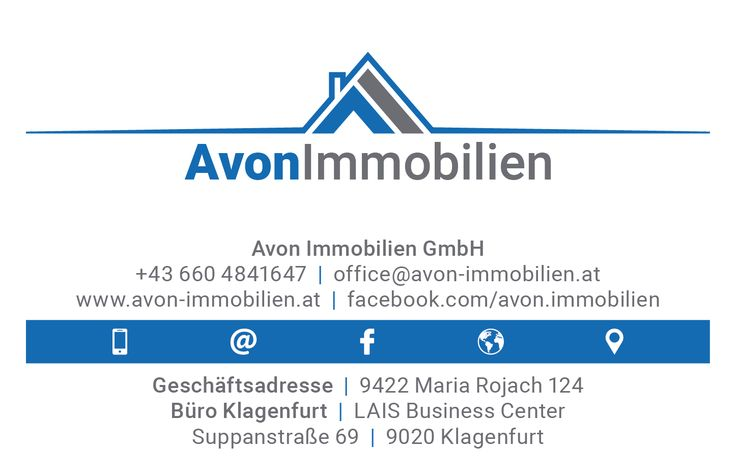Clean Business Card Design, Back (Avon Immobilien GmbH, www.avon-immobilien.at)