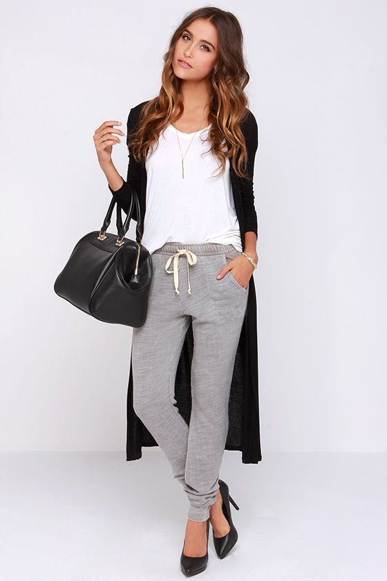 grey jogger pant  +  white tee  +  long black cardigan = perfect weekend errands outfit