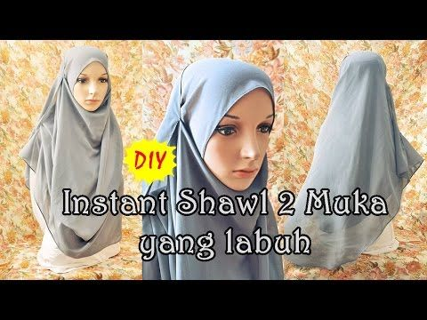 DIY: Menjahit instant shawl 2 muka yang labuh - YouTube