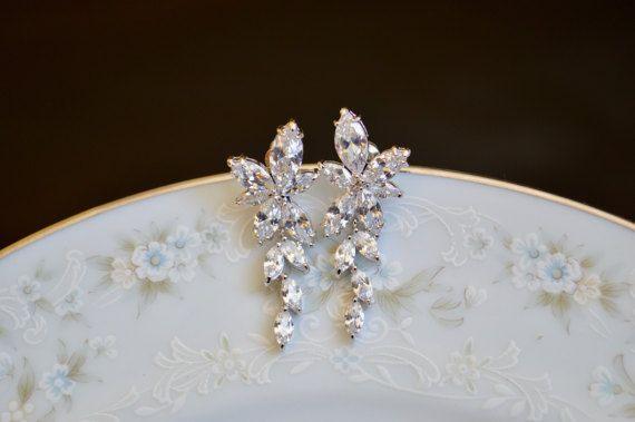 Cubic zirconia flower cluster dangle wedding by starrydreams