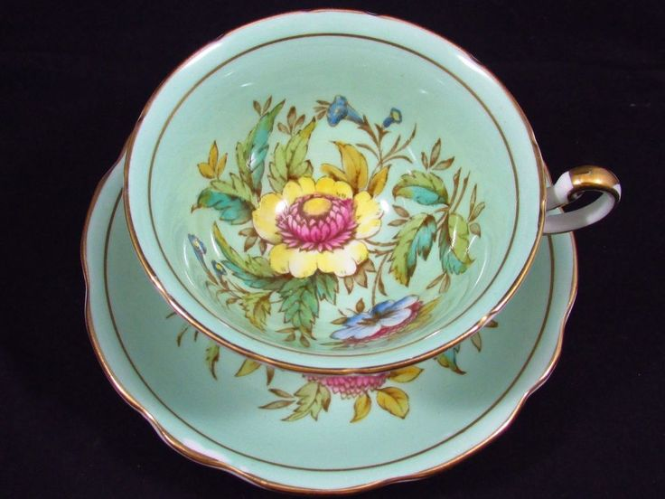 Vintage Foley Helichrysum Pattern HP Floral Blue Green Teacup and Saucer, pre 1940 - English China Floral Tea Cup Teacup