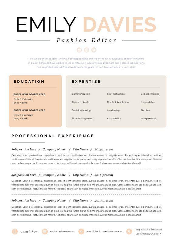 resume template resume cv template cv design curriculum creative