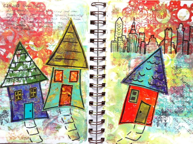 Life in the 'burbs...peace and quite while still being close enough to the city to take advantage of the museum, art galleries and theatres. Another spread, this time inspired by Karen Ellis' Creative Jumpstart video. The background and papers were made using a Gelli plate, acrylic ink and stencils.