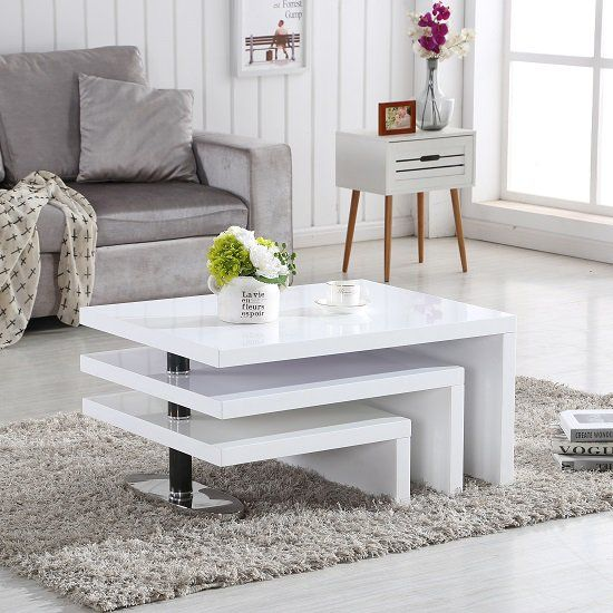 Design Coffee Table Rotating In White High Gloss With 3 Tops