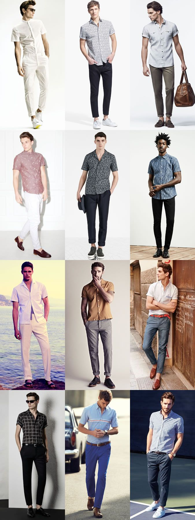 Men's Go-To Smart-Casual Summer Outfit Combinations: Short-Sleeved Shirt And Trousers Combination Inspiration Lookbook