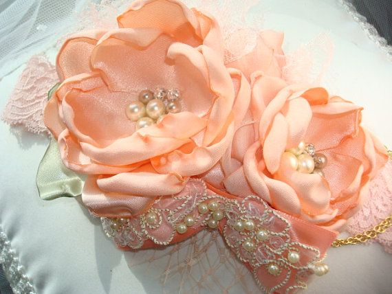 Vintage Inspired Peach Baby Girl Flower Headband by lepetitejardin, $28.95