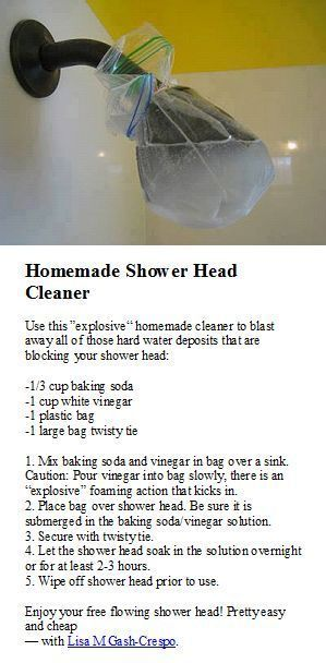 Shower head Cleaner - I tried this today and it really works! I found the whole bag over the shower head didn't really work as it kept leaking so I removed the head and put it into a bowl instead.