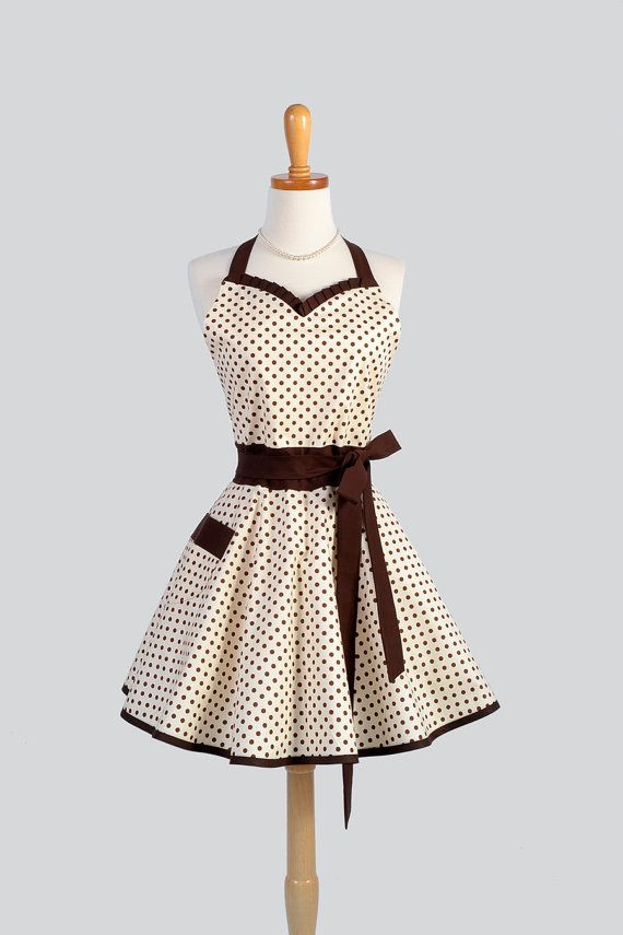 Sweetheart Retro Apron , Sexy Womens Apron in Brown and Ivory Aspirin Dot Cute Full Kitchen Apron