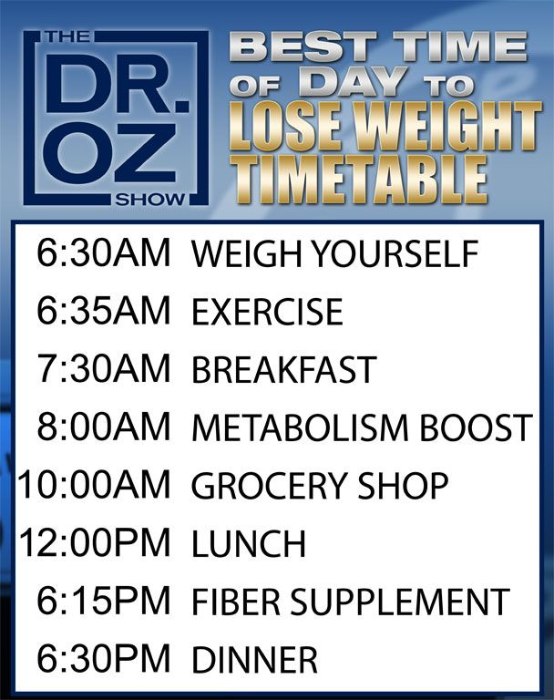 Dr. Oz The Best Time of Day to Lose Weight Timetable