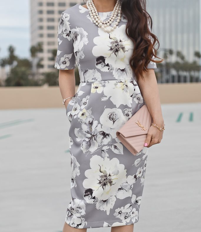 PETITE Smart Dress with V Back in Gray Floral Print, louboutin pigalle nude pumps, Saint Laurent YSL blush wallet on chain, petite fashion blog, spring work outfit, floral dress - click the photo for outfit details!