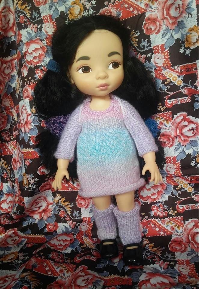 Knitting dress, bolero and legwarmers for Mulan or other Disney Animators Doll.  Made by ewick (Ewa Kopka-Nowakowska