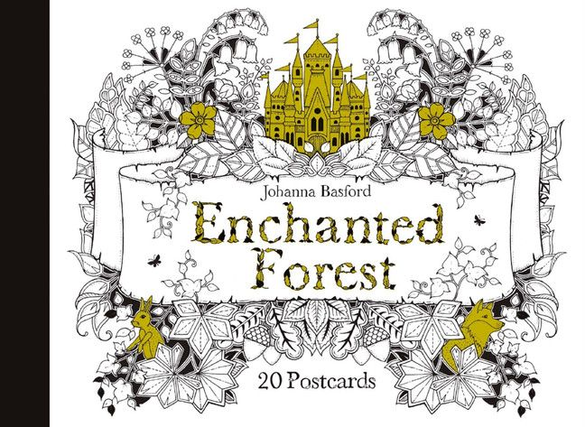 3D Coloring Cities Enchanted Forest Postcards
