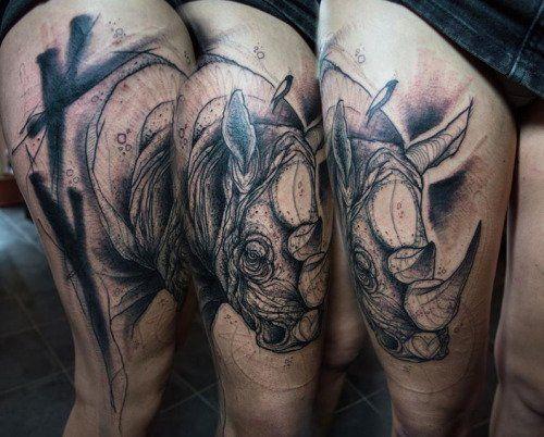 Rhino Tattoo by Sven Groenvald