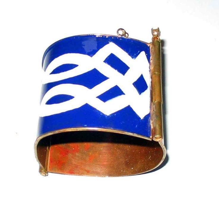 #Bracciale con struttura artigianale in rame con smalti a fuoco di motivi celtici www.annaritavitali.it