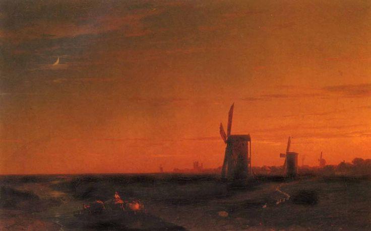 Aivazovsky - Paysage avec moulins à vent