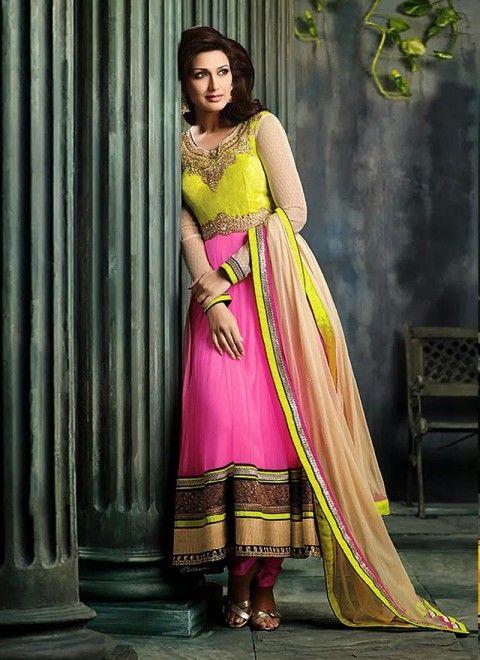 Pink Net Sonali Bendre Anarkali Suit