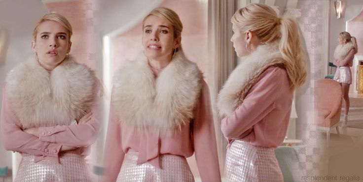"""Chanel Oberlin (Emma Roberts) in fur neck wrap from Scream Queens episode 5, """"Seven Minutes in Hell"""""""
