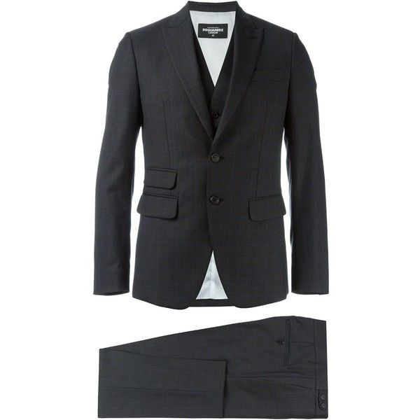Dsquared2 checked three piece suit (1,750 CAD) ❤ liked on Polyvore featuring men's fashion, men's clothing, men's suits, grey, mens slim fit 3 piece suits, mens grey suit, mens grey 3 piece suit, slim fit mens clothing and mens checked suits