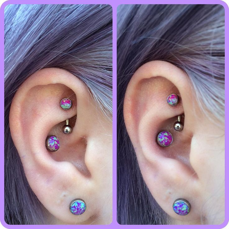 """""""Zoey came in last week and chose these gorgeous dark pink opals to start her new rook and conch piercings with.  I think they look adorable! (Almost as…"""""""