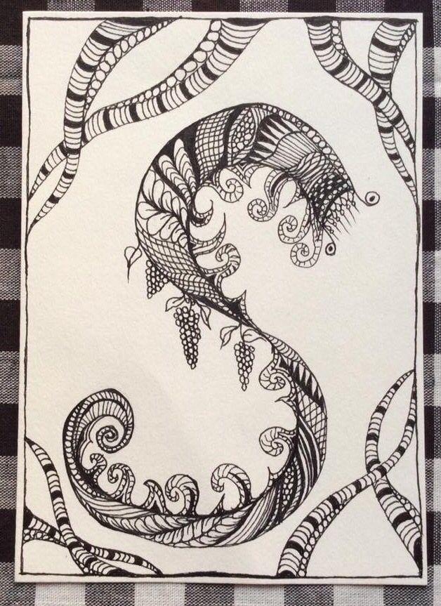 Zen-tegning sort og hvid tusch tegning