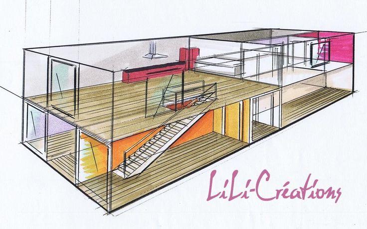 PROJECTION AXO (intérieur d'une maison container)