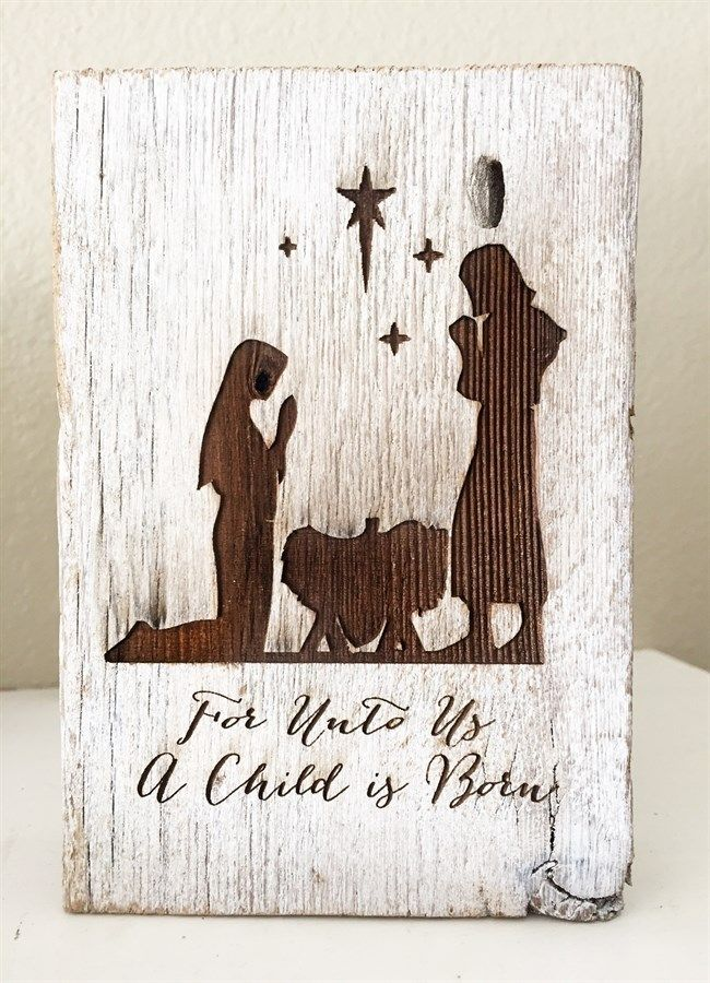 Rustic Christmas Nativity Scene on weathered barnwood. A darling rustic scene perfect for gifting or for your own mantle.