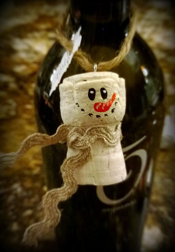 Snowman Cork Ornament or Hang On a Bottle of by BitsBobblesandBows