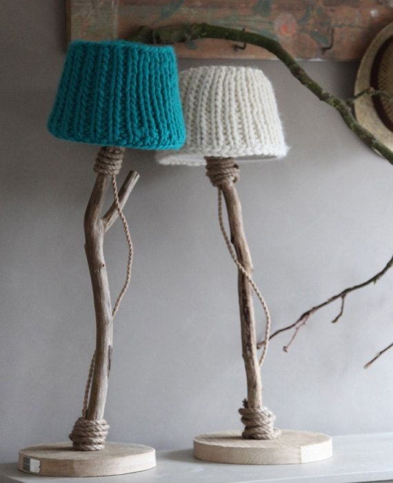Knitwear table lamp from driftwood oak wood and by DutchDilight
