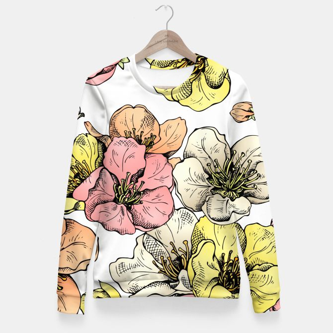 Colorful Poppies Fitted Waist Sweater