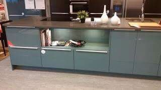 Kallarp ikea cabinets with tan/grey floor and dark butcher block countertop