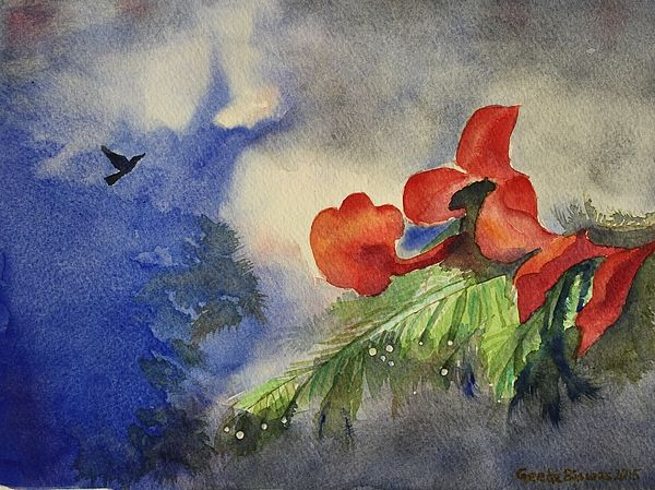 Monsoon Rain #monsoon #rain #clouds #watercolor #art #painting #gifts #popular #nature #homedecor  #artprints #aquarelle #fineart #raindrop #printsunder$27 #flowers #landscape #GeetaBiswas Watercolor Artist #commission #artist #india