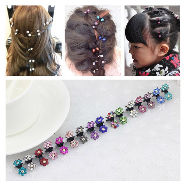 12pcs/lot japanese hairpins Flower Crystal hairpins for hair women Mini Hair Claw Clips Baby scrunchy Wholesale Fashion 7008