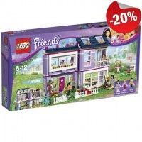 Zet je creativiteit aan het werk met de LEGO Friends Emma's huis-set: een modern gebouw met keuken, woonkamer, badkamer, slaapkamer, dakterras, tuin en fiets.