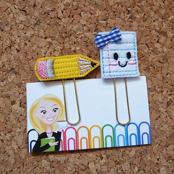 Felt Pencil and Paper Bookmark   Paper Clip  Organizer   Calendar   Planner Accessory   Filofax  This adorable felt is the perfect sweet way to
