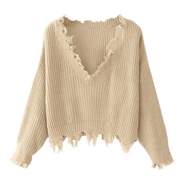 Loose Ripped V Neck Sweater Khaki (£14) ❤ liked on Polyvore featuring tops, sweaters, long sleeves, ripped sweaters, loose fitting sweaters, torn sweater, brown top and destroyed sweater
