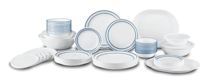 AmazonSmile: Corelle Livingware 74 Piece Classic Cafe Blue Dinnerware Set with Storage Lids, White: Kitchen & Dining