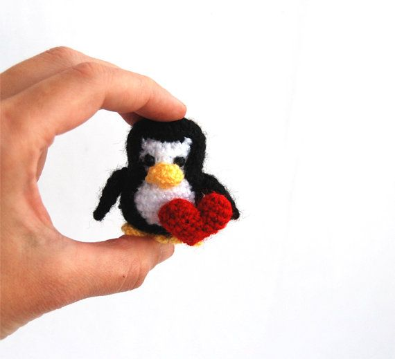$31.32 miniature penguin, little stuffed penguin, small aquatic bird with red heart, love #peinguin, amigurumi penguin, crochet tiny penguin gift, #cute TUX, #picoftheday by crochAndi