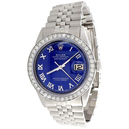 Mens Rolex 36mm DateJust Diamond Jubilee Watch Roman Numeral Blue Dial 1.90 CT.