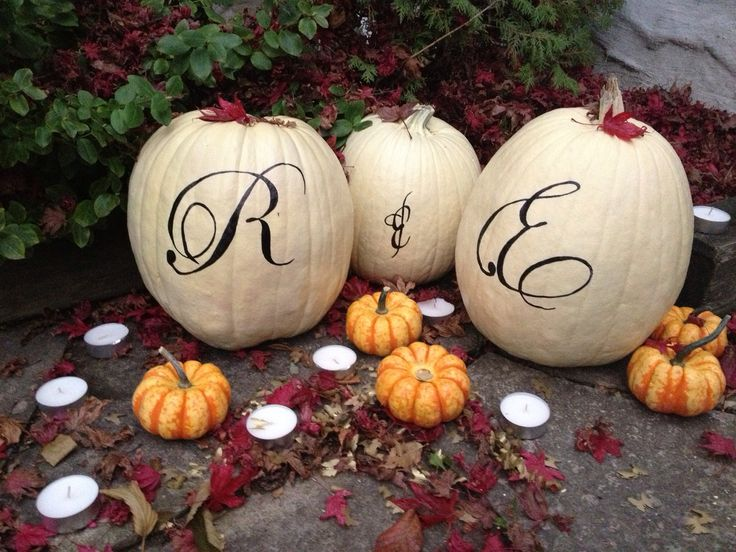 #Pumpkin #Decoration with the bride and groom initials. #Fall #Weddings