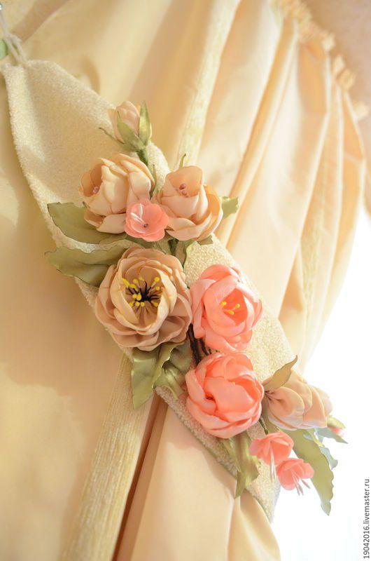 Текстиль, ковры ручной работы. Ярмарка Мастеров - ручная работа. Купить Подхваты для штор. Handmade. Прихваты для штор, цветы, гостинная