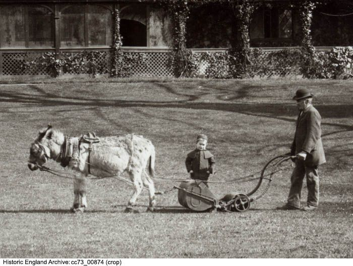CC73/00874 Cropped view of a small boy watching as a man mows the lawn with a horse-drawn lawn mower. Upton Court, Upton,  Slough   Date1883 Photographer: Henry W Taunt.  Please click for more information or to search our collections.
