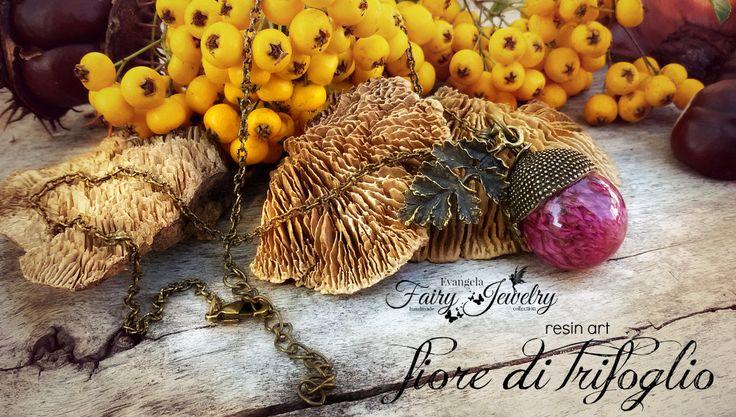 Collana ghianda con fiore trifoglio incluso nella resina bronzo gioielli botanici, by Evangela Fairy Jewelry, 15,00 € su misshobby.com