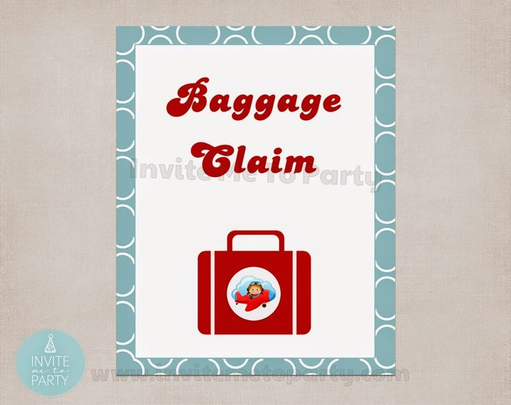 Baggage Claim Poster 8 x 10 Invite Me To Party: Little Pilot Party / Little Aviator Party / Airplane Party