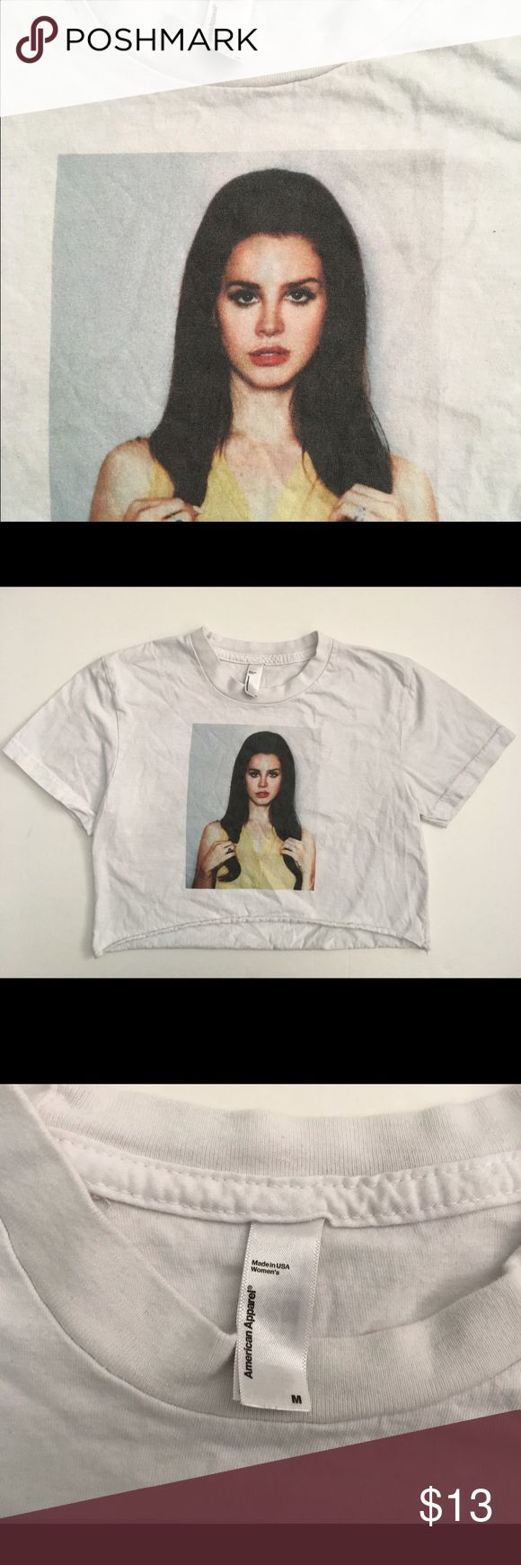 American Apparel Lana Del Rey crop cut off Tee M American Apparel cut off crop T-shirt featuring Lana Del Rey. Size M. American Apparel Tops Tees - Short Sleeve