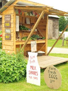 Roadside farm stands like these have a special challenge: their customers are often driving past at 50 mph.  Using distinct signs for the food available that day is one way to provide important information to customers.