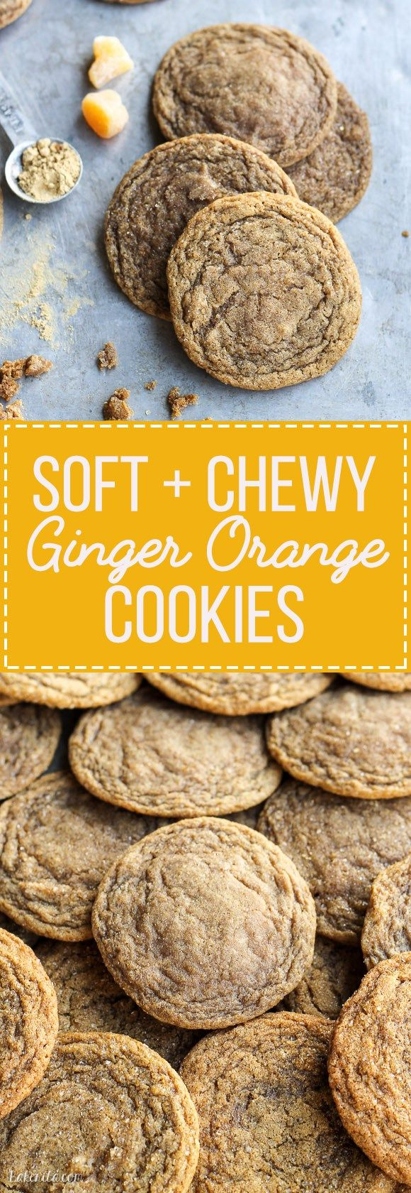 These Chewy Ginger Orange Cookies are a classic soft and chewy ginger cookie with a hint of orange zest. These flavorful cookies stay soft for up to a week!