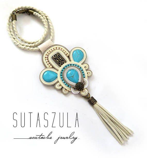 Tassel beige cream turquoise necklace soutache colorful OOAK
