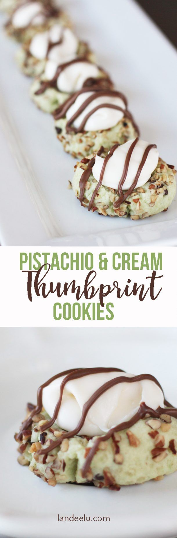 These Pistachio and Cream Thumbprint Cookies are amazing! They look fancy but are easy to make and delicious! Perfect for a party! #pistachio #pistachiocookies #pistachiothumbprintcookies #thumbprintcookies #pistachioandcream #cookies #easycookies