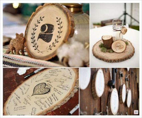 D coration de mariage avec de rondin en bois pour le - Rondin de bois centre de table ...